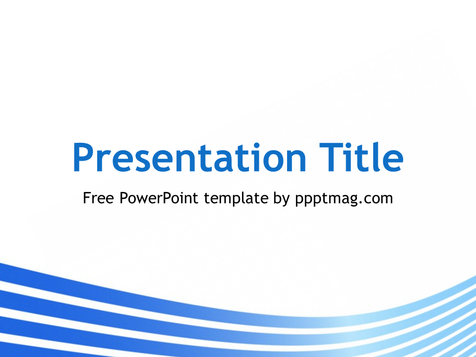 The Free Blue Lines Powerpoint Template Has A White Background And