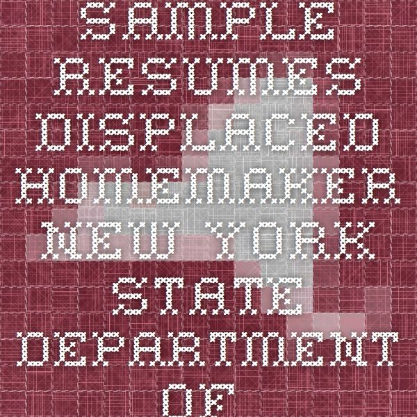 sample resumes displaced homemaker new york state department of