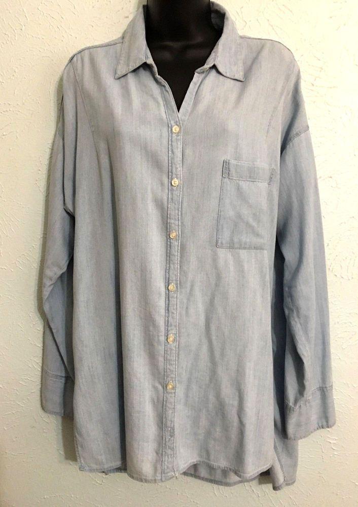 fbe44c1f3a5 Hollister Womens Light Blue Denim Button Up Long Sleeve Tunic Shirt Size  Large  Hollister  ButtonDownShirt  Casual