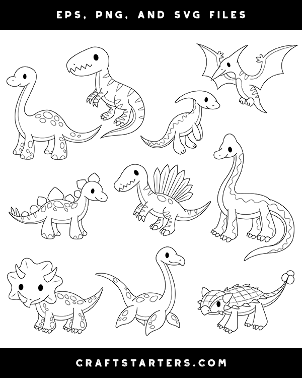 Baby Dinosaur Digital Stamps Black And White Clip Art Digital Stamps Dinosaur Clip Art Digi Stamps