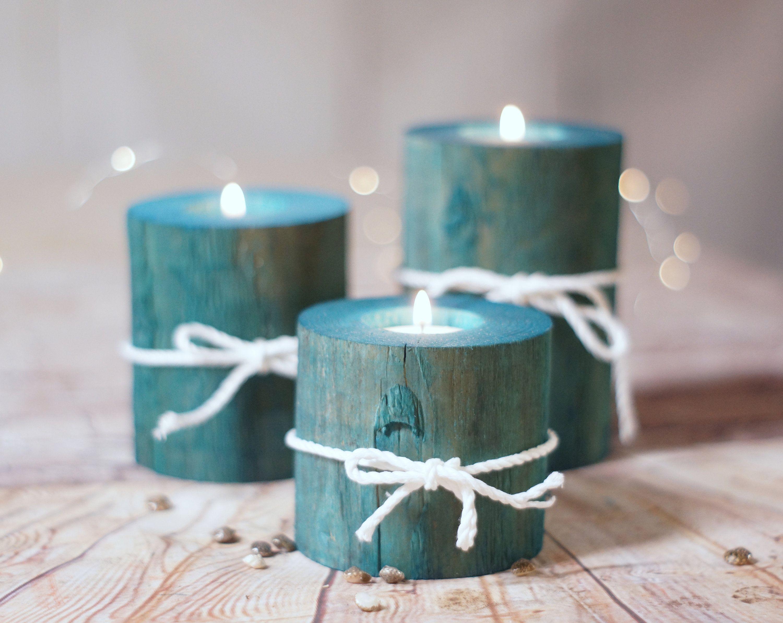 Set Of 3 Aqua Blue Log Candle Holders Beach House Decor Etsy In 2020 Log Candle Holders Log Candles Beach House Decor