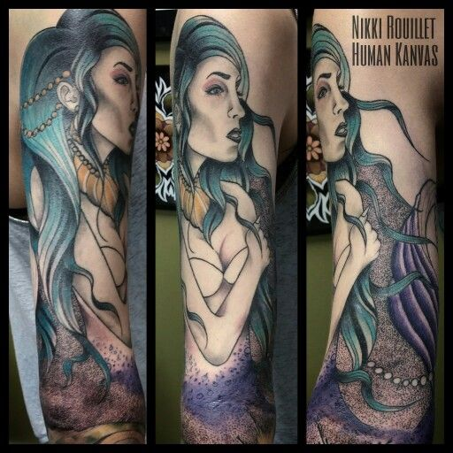 One more session on this neotraditional mermaid tattoo and it's done