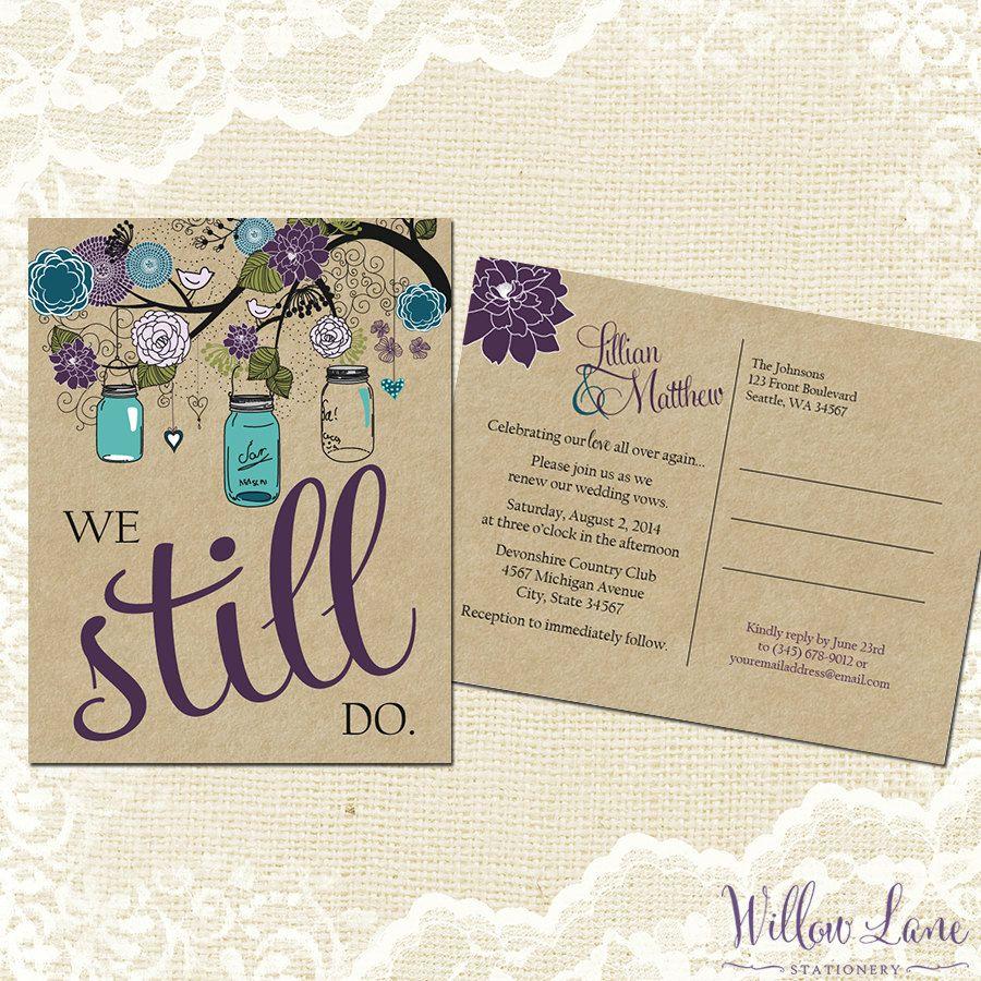 Vow Renewal Postcard - We Still Do - Green Purple Blue Mason Jar Vow ...