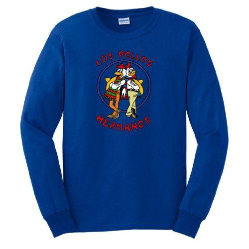 Los Pollos Hermanos Chickn Brothers Chicken Bros LONG SLEEVE T-Shirt Breaking Bad AMC TV Show Full Color LONG SLEEVE Tee Small Royal