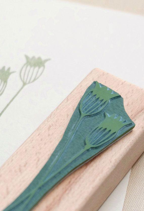Rubber stamp | Cornflower | floral stamp | ecofriendly | STUDIO KARAMELO #rubberstamping
