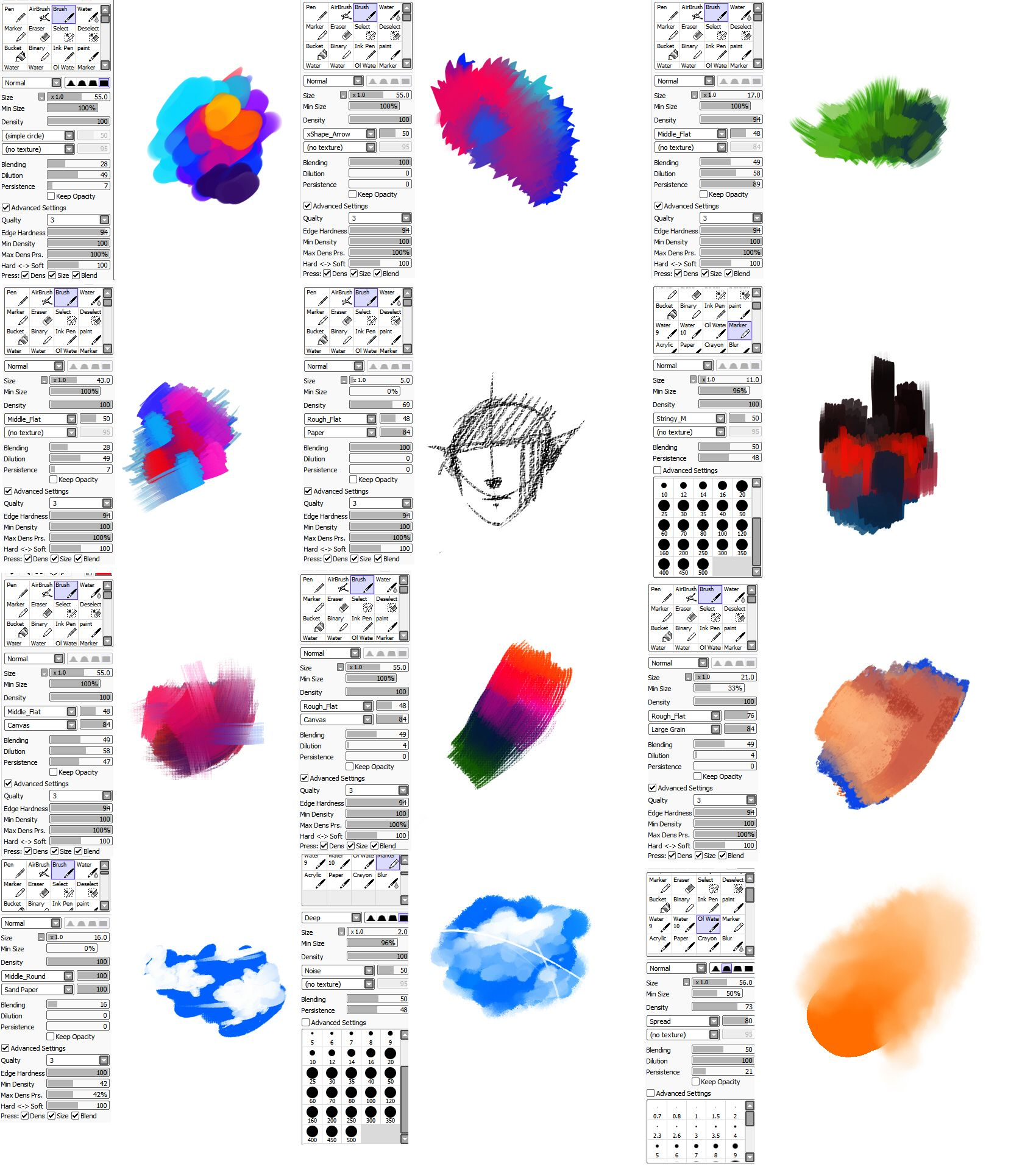 Brushes Type For Paint Tool Sai By Ryky Deviantart Com On