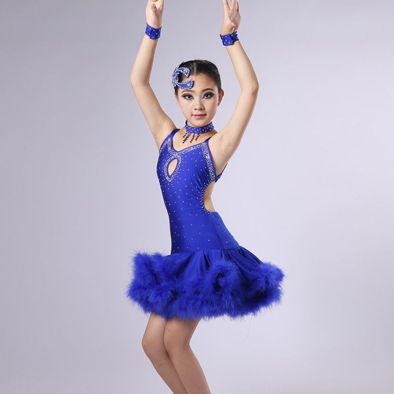 1c5f9f5d8 customize feather children latin dance dress girls dance costume for ...