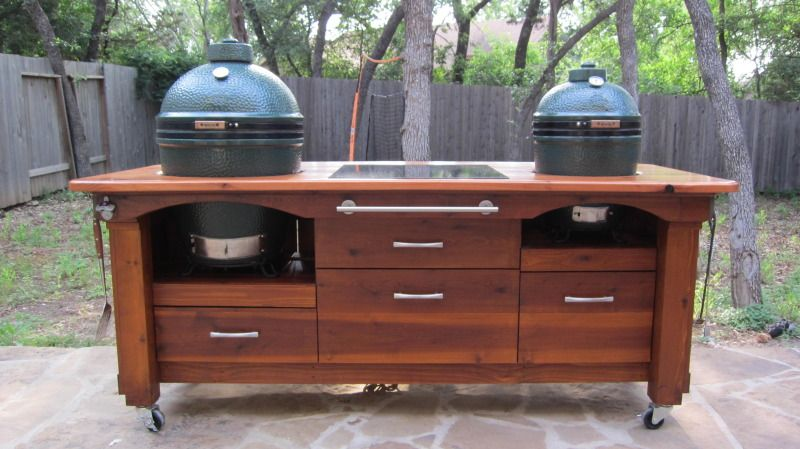 My Table Is Finally Home And Egged Lots Of Pics Big Green Egg Table Plans Big Green Egg Table Big Green Egg Outdoor Kitchen