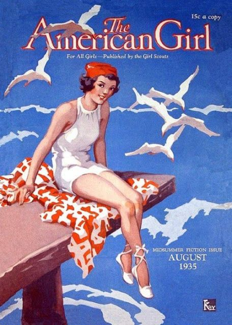 a cat among the pigeons: At the seaside in vintage illustrations