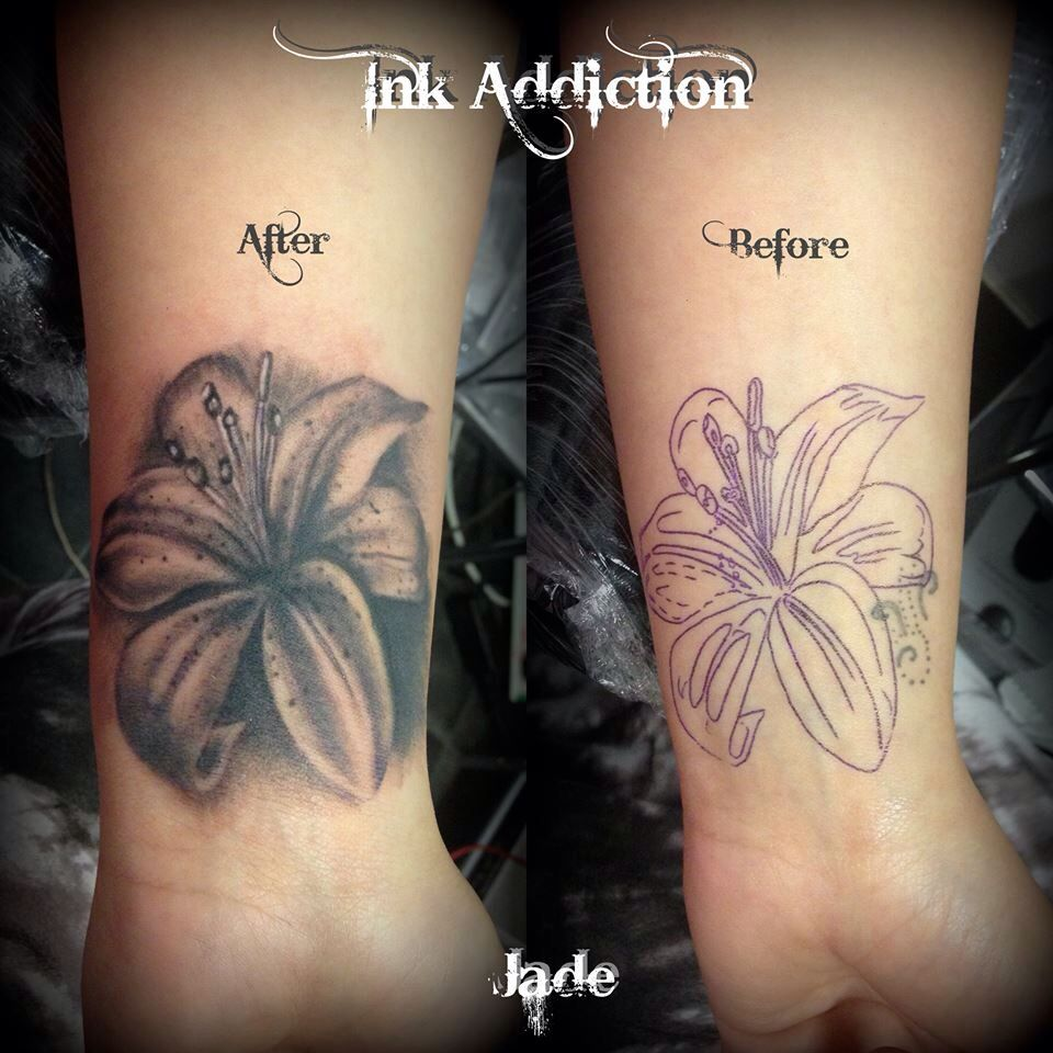 Lilly tattoo cover up small tattoo wrist Cover up