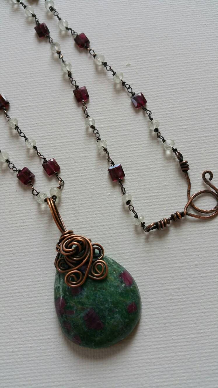 Oxidized Copper Wire Wrapped Ruby In Fuchsite Pendant With 23 ...