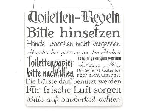 XL Shabby Vintage Schild Türschild TOILETTEN REGELN Bad Toilette - dekoration f r die k che