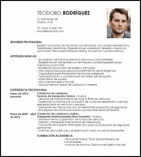 Curriculum Vitae Para Conductor De Camiones Tareas Pinterest