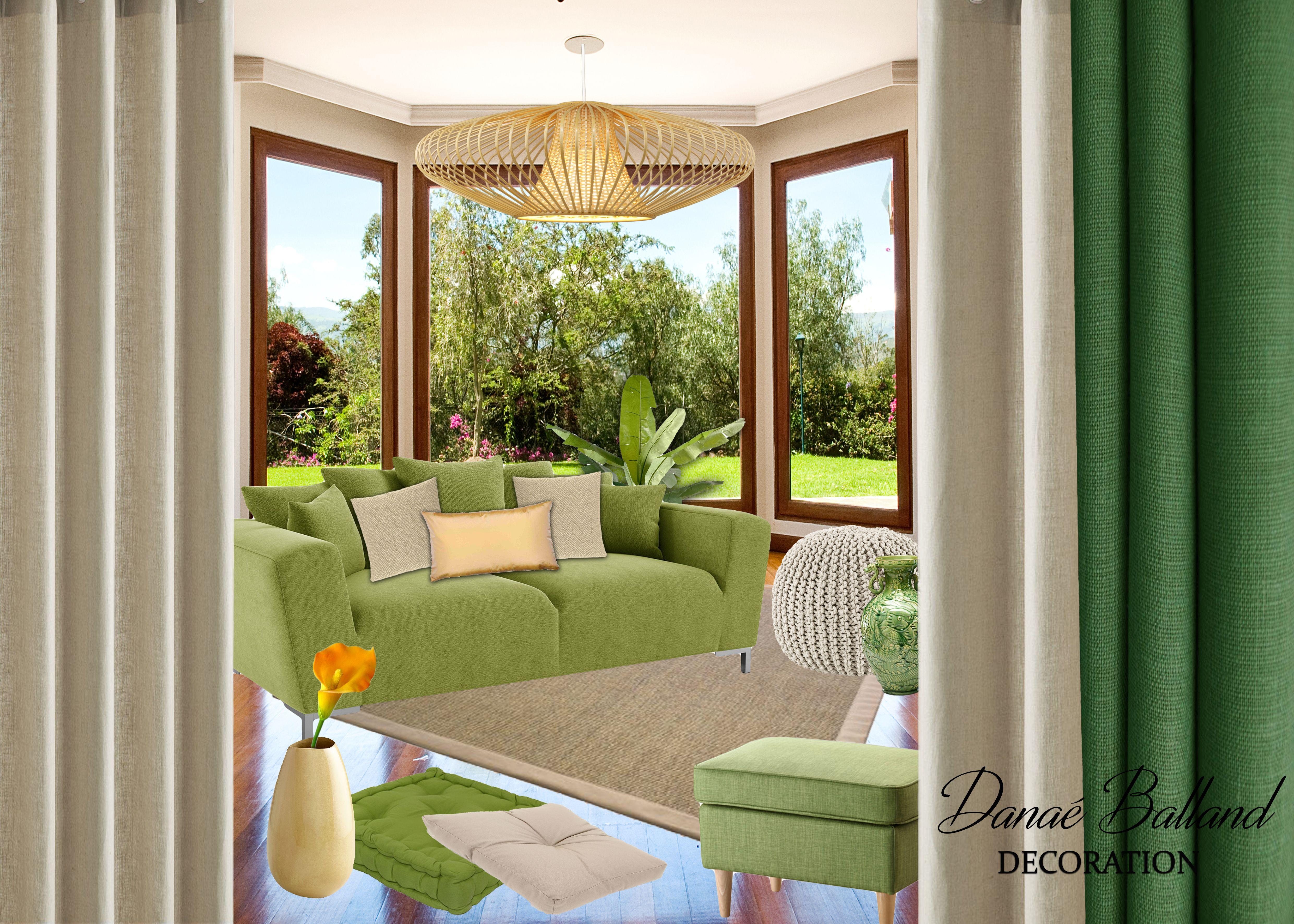 planche tendance dcoration intrieure salon ambiance douce et naturelle zen chaleureuse - Salon Vert Et Beige