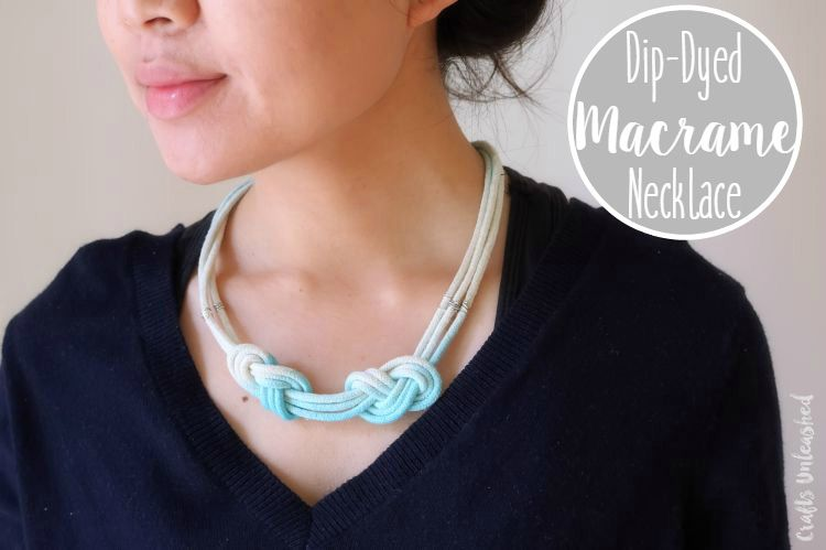 You don't need to be a macrame pro to make this dip-dyed macrame DIY necklace. You can embrace the trend with a few knots and macrame cord!