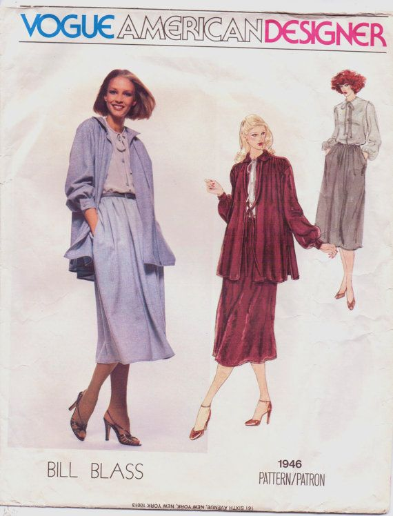 1970s Vogue American Designer Pattern 1946 Bill by CloesCloset, $14.00
