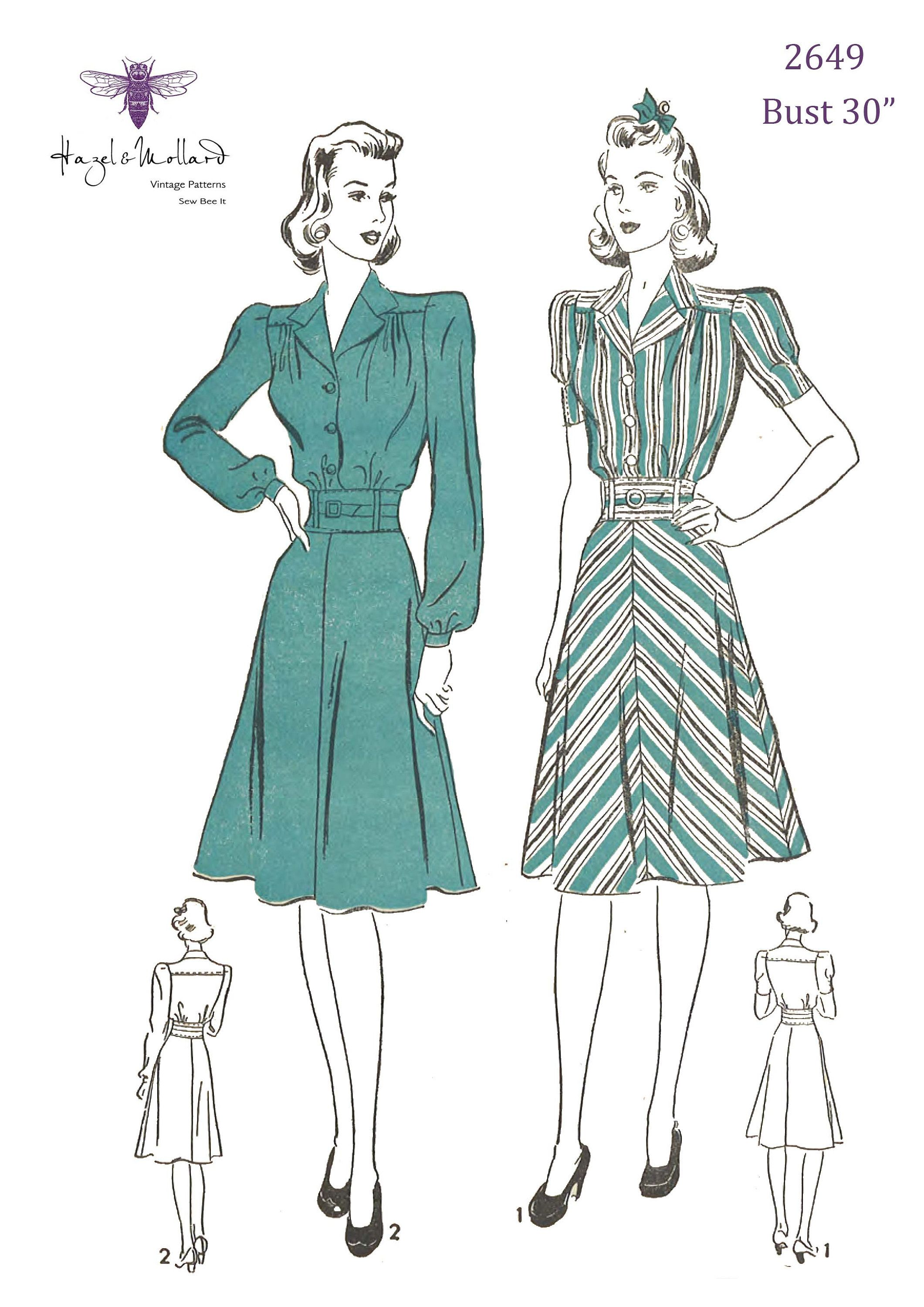 Vintage 1940 S Sewing Pattern Women S Tailored Dress Etsy Womens Sewing Patterns Tailored Dress Sewing Patterns