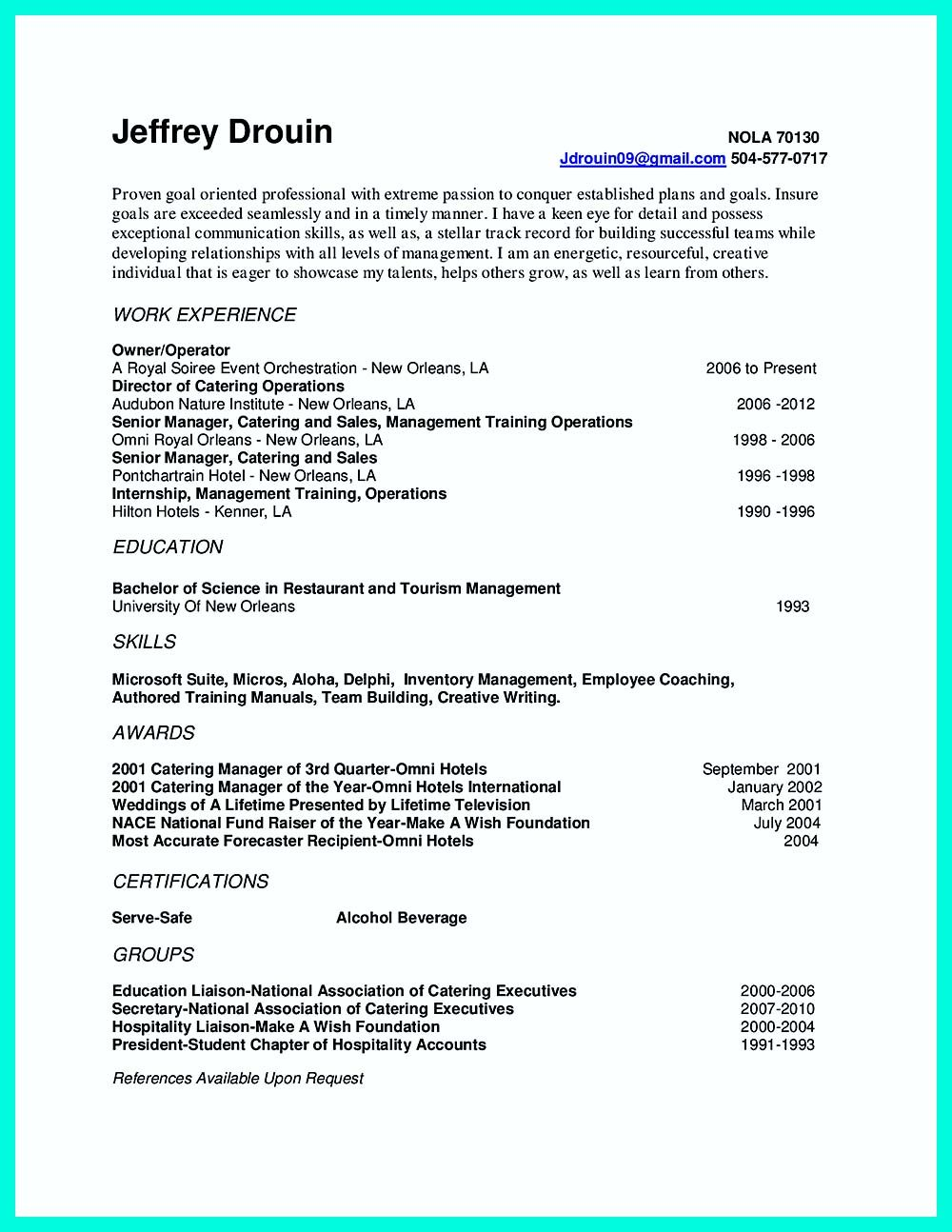 Catering Manager Resume Endearing Catering Manager Cv Template Food ...