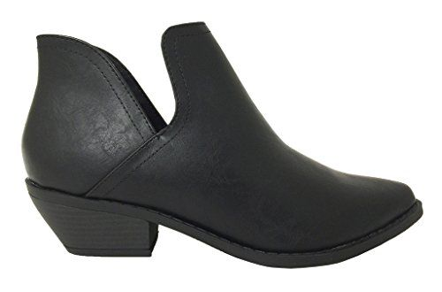 Lustacious Women's Almond Toe Exposed Side Slip On Stacked Heel Ankle Bootie, black leatherette, 5.5 M US Soda http://www.amazon.com/dp/B018ZSLEP8/ref=cm_sw_r_pi_dp_gN1ywb1QDBAV2