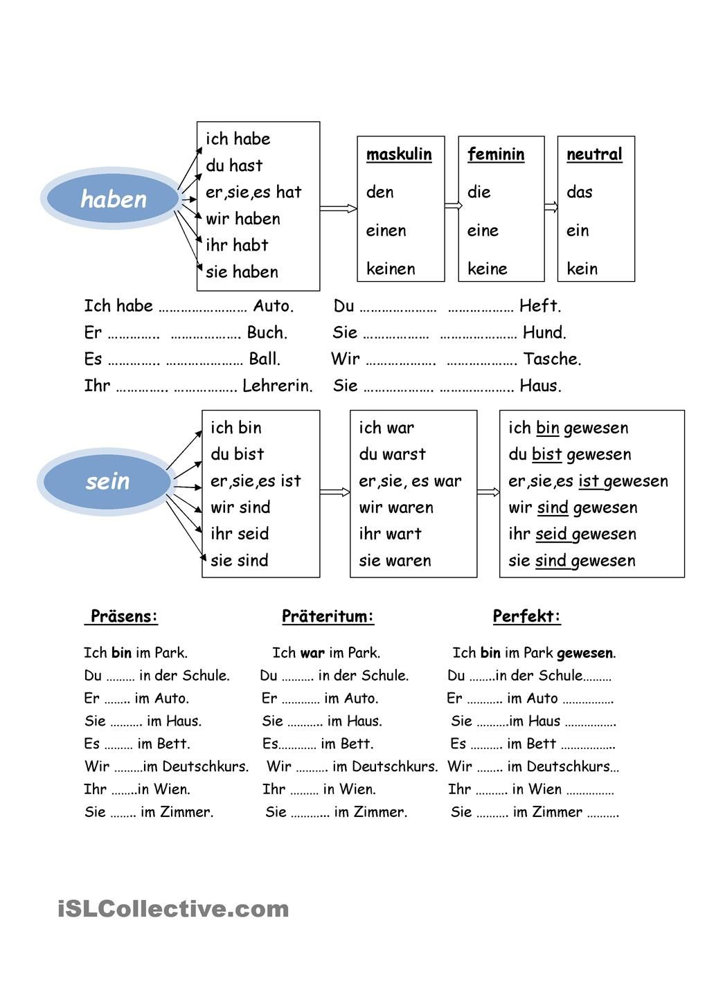 Worksheets German Worksheets haben sein language german and learn sein