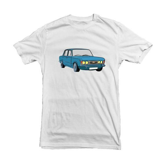Polski Fiat 125 p Polish Fiat Car T shirt Blue Fiat Big Vintage Classic Car – Hi…