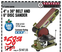 4 In X 36 In Belt 6 In Disc Sander Tools For Remodel Tools