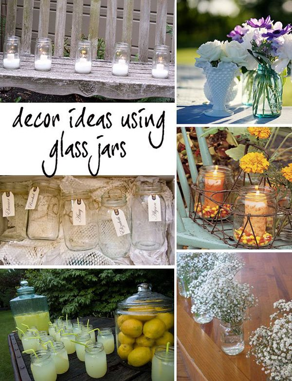 Glass Bottles For Wedding Decorations Ideas With Glass Jars Wedding  Pinterest  Jar Jars Decor And