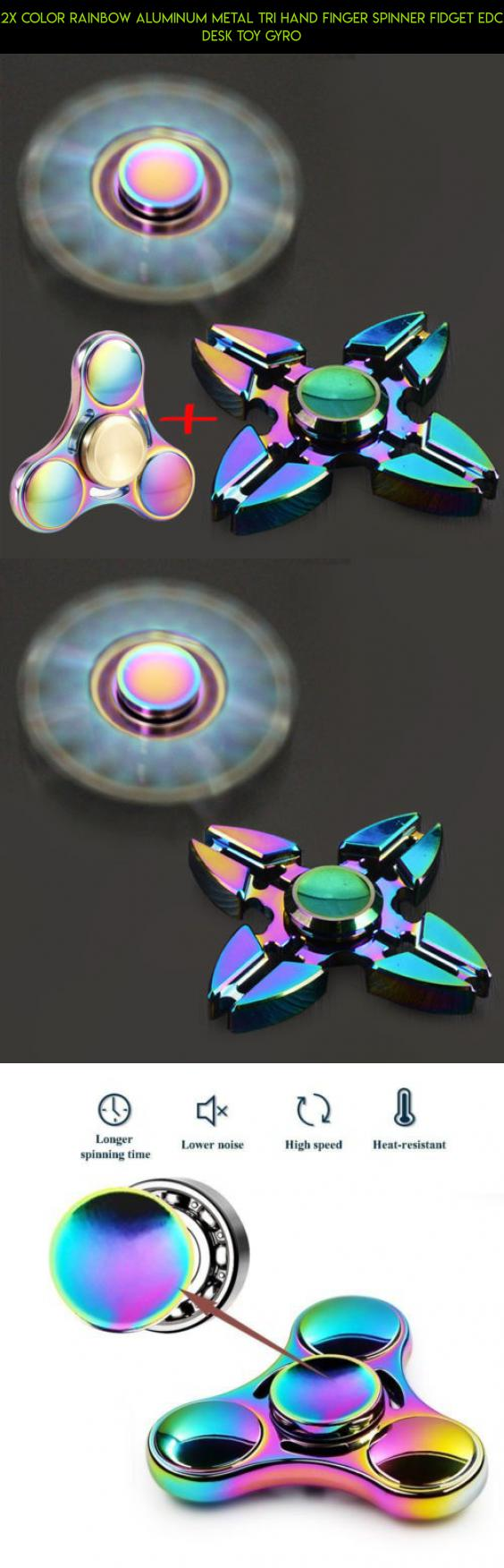Color Rainbow Aluminum Metal Tri Hand Finger Spinner Fidget EDC Desk Toy Gyro