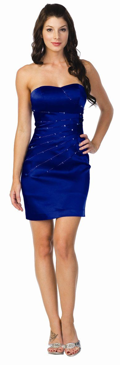 Formal Party Dresses Royal Blue Cocktail Party Dress Strapless
