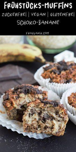 Frühstücksmuffins ohne Zucker | V, GF | Schoko-Banane & Apfel-Zimt - Frau Janik