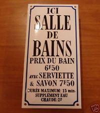 plaque emaillee pochoir salle de bain douche emailschild email enameled sign - Pochoir Salle De Bain