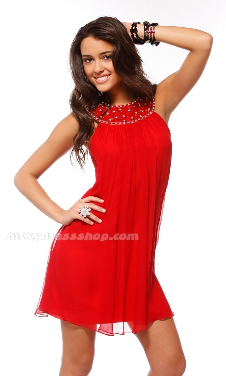 Sexy Red Jewel Short/Mini Chiffon Cocktail Dresses With Sleeveless ...
