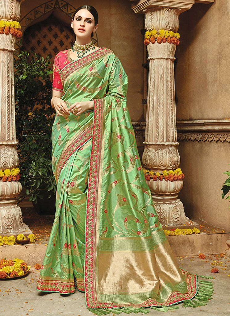 745a72dc00c3a0 Light Green and Hot Pink Embroidered Silk Saree features a gorgeous pure  silk jacquard in weaving silk saree alongside an art silk blouse.