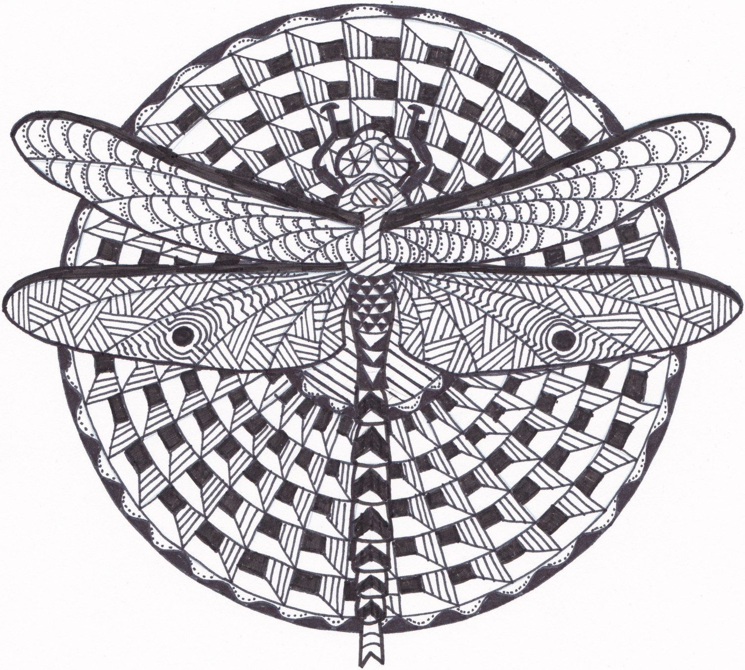 Dragonfly Zentangle Coloring Page by InspirationbyVicki on Etsy