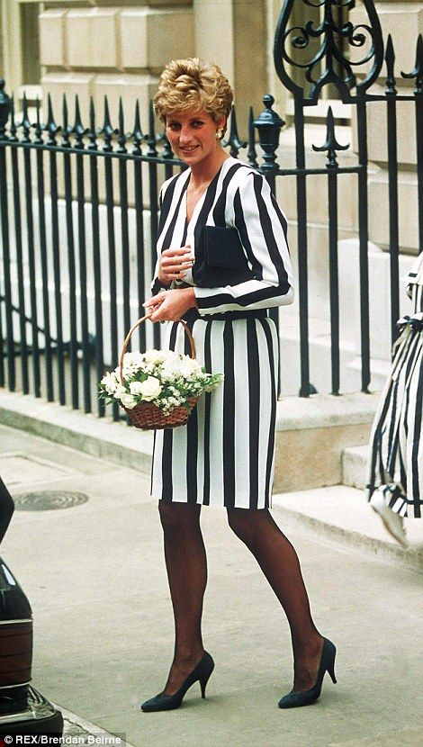 Seeing stripes: Princess Diana opted for the monochrome look at Spencer House in 1993