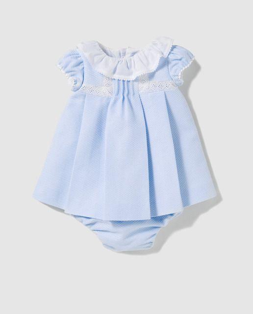 Vestido de bebé niña Dulces en azul con volante  1be4b952ddac