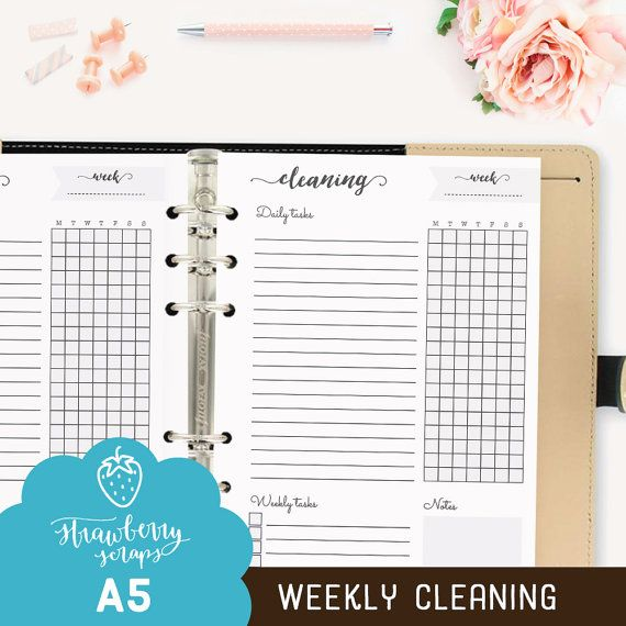 Cleaning Planner Weekly Cleaning Printable Planner Inserts
