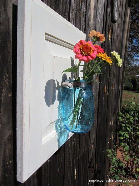Turn A Cabinet Door Into A Mason Jar Wall Vase