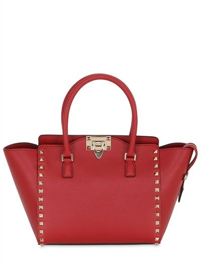 Valentino Small Rockstud Leather Top Handle Bag Red Bags Canvas Lining Shoulder Hand Cotton