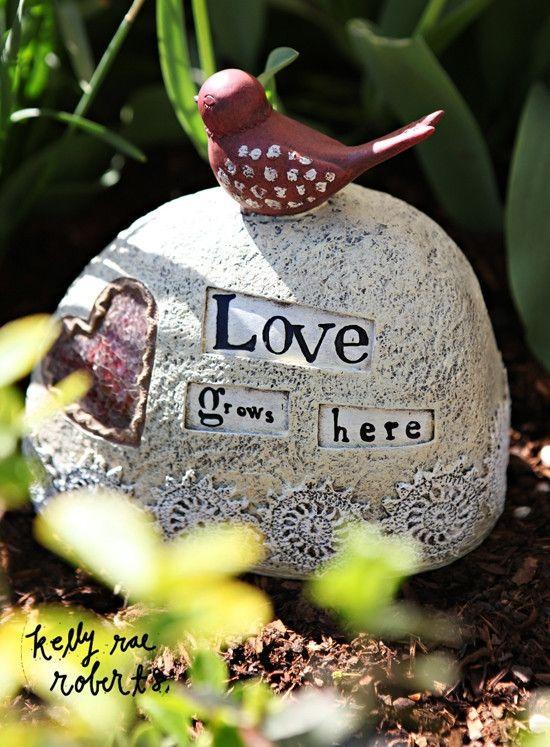 Garden Stone-Love Grows Here | Garden Gallery Iron Works