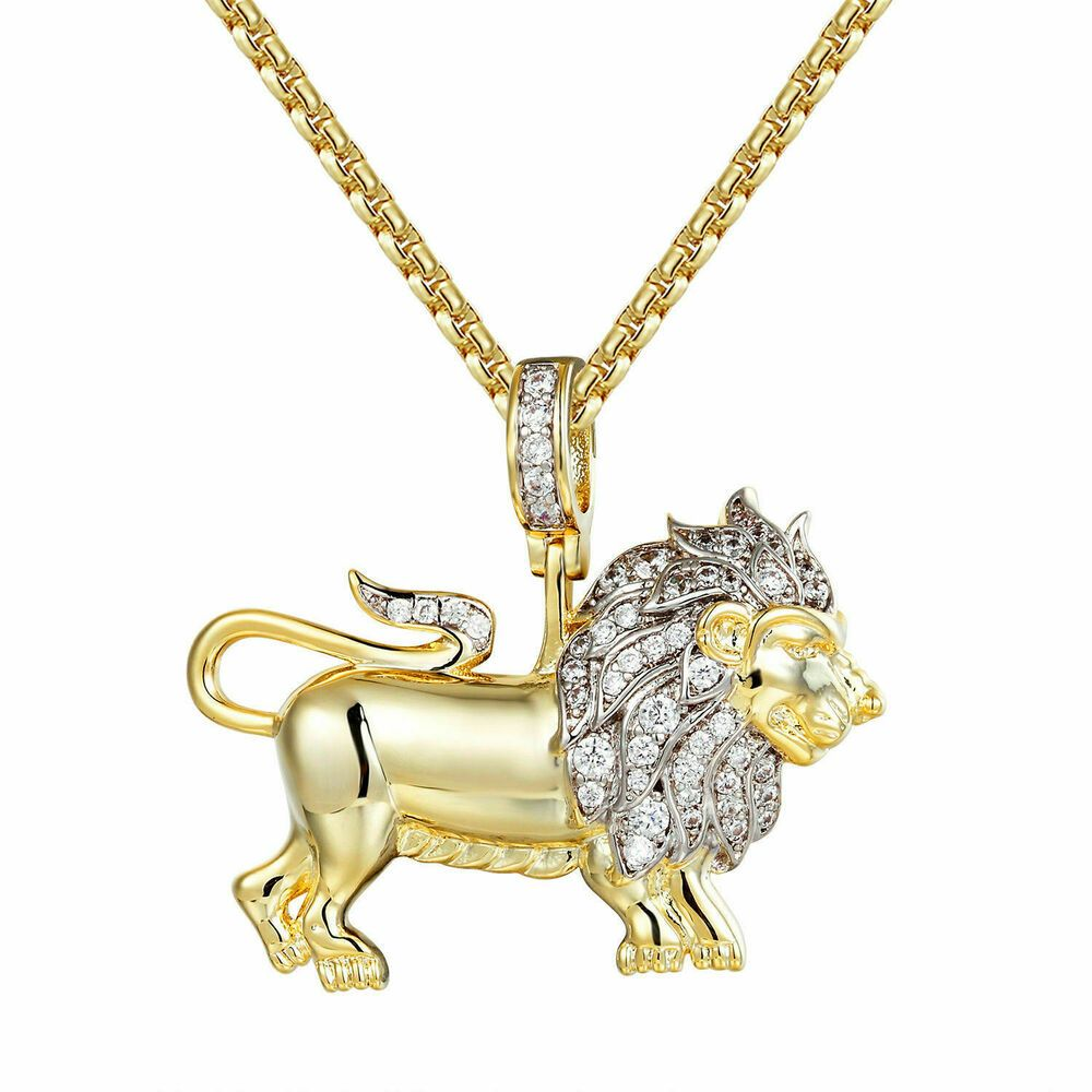 10K Two Tone Gold Diamond Cut Lion Face Charm Pendant