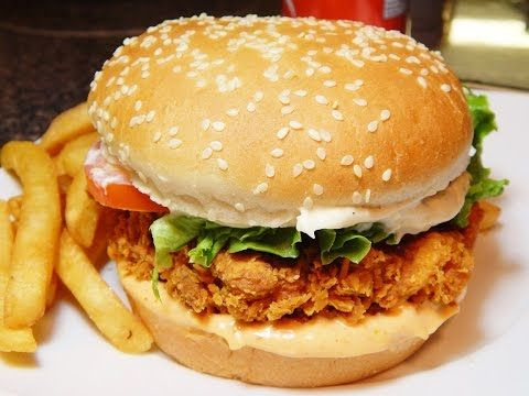 Zinger Burger Recipe KFC Style At Home With Very Easy 5 Steps (زِنگر برگر) by (HUMA IN THE KITCHEN) - YouTube