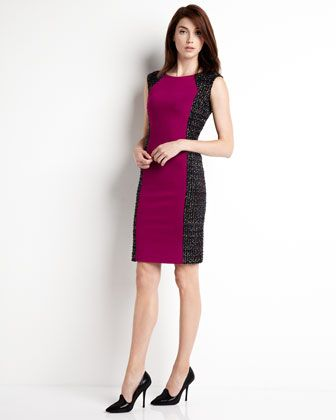 Cambria Tweed/Ponte Combo Dress - Last Call by Neiman Marcus