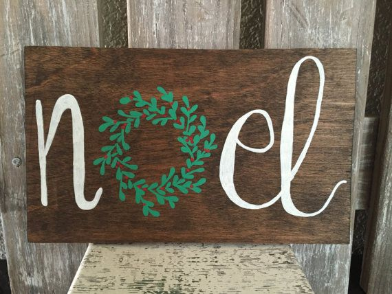 NOEL Wreath Wooden Christmas Decor Sign by FearfullyMadeCo on Etsy