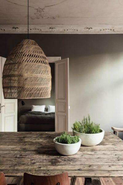 le bois et les couleurs naturelles , salle à manger, suspension en - table salle a manger loft
