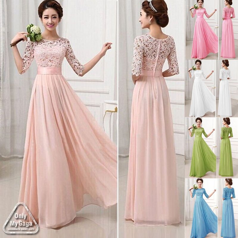 New Plus Size Long Chiffon Bridesmaid Formal Gown Ball Party Evening ...