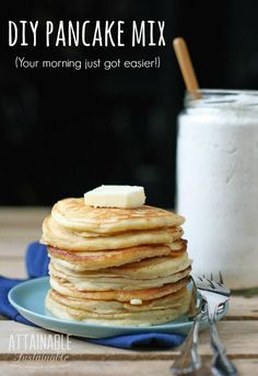 Avoid the wonky ingredients found in store-bought baking mix with this DIY homemade pancake mix. Breakfast just got easier!