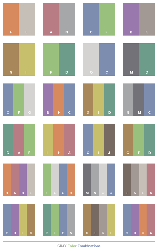 Gray Tone Color Schemes Combinations Palettes For Print Cmyk And Web Rgb Html
