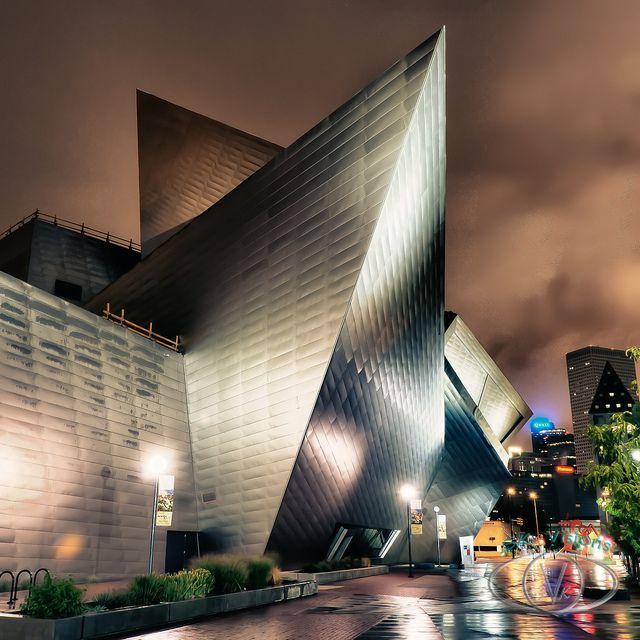 Denver Art Museum On Raining Morning