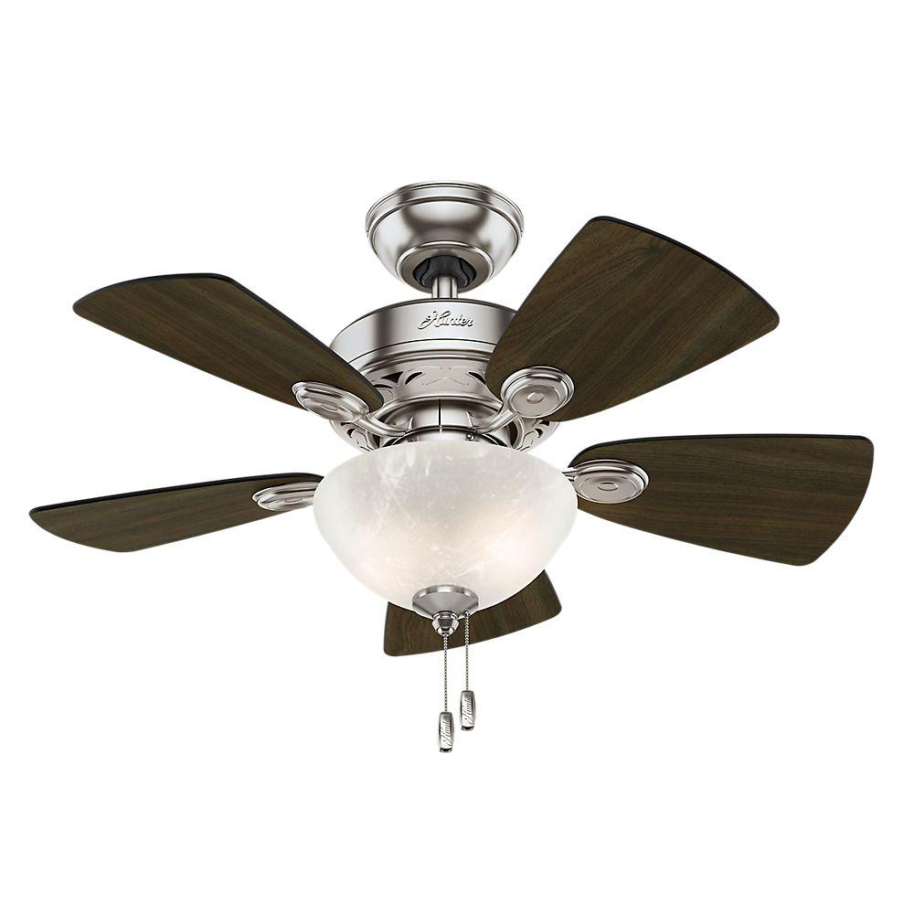 Hunter Watson 34 In Indoor Brushed Nickel Ceiling Fan With Light Kit 52092 The Home Depot Ceiling Fan With Light Brushed Nickel Ceiling Fan Ceiling Fan